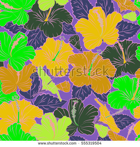 Vivid Colors Bright Tropical Flowers Vector Stock Vector 282267584.