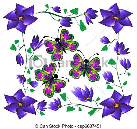 Clipart of butterflies on flowers.