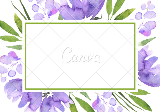 Violet Green Floral Composition for Wedding Invitation.
