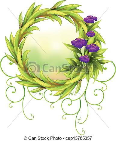 Clipart Vector of A round green border with violet flowers.