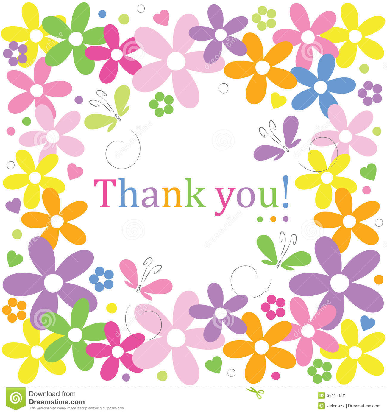Hearts Flowers And Butterflies Thank You Card Stock Image.