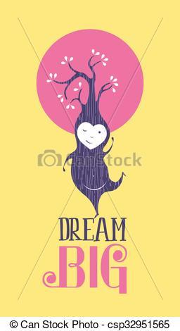 Clip Art Vector of Dream big motivation inspiration.