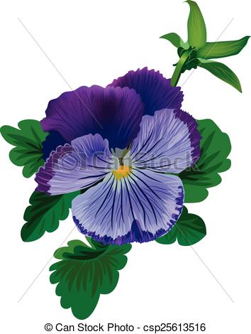 Vector Clip Art of Violet pansy flower with leaves and bud.