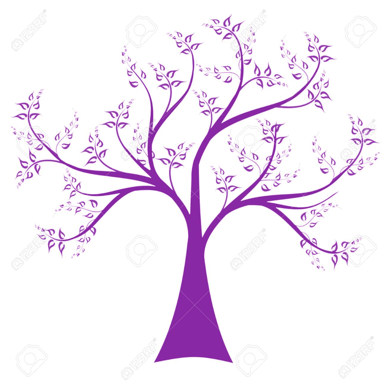 Art Tree Isolated On White Background Royalty Free Cliparts.