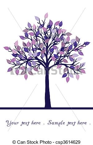 Stock Illustration of Abstract tree with purple leaves csp3614629.
