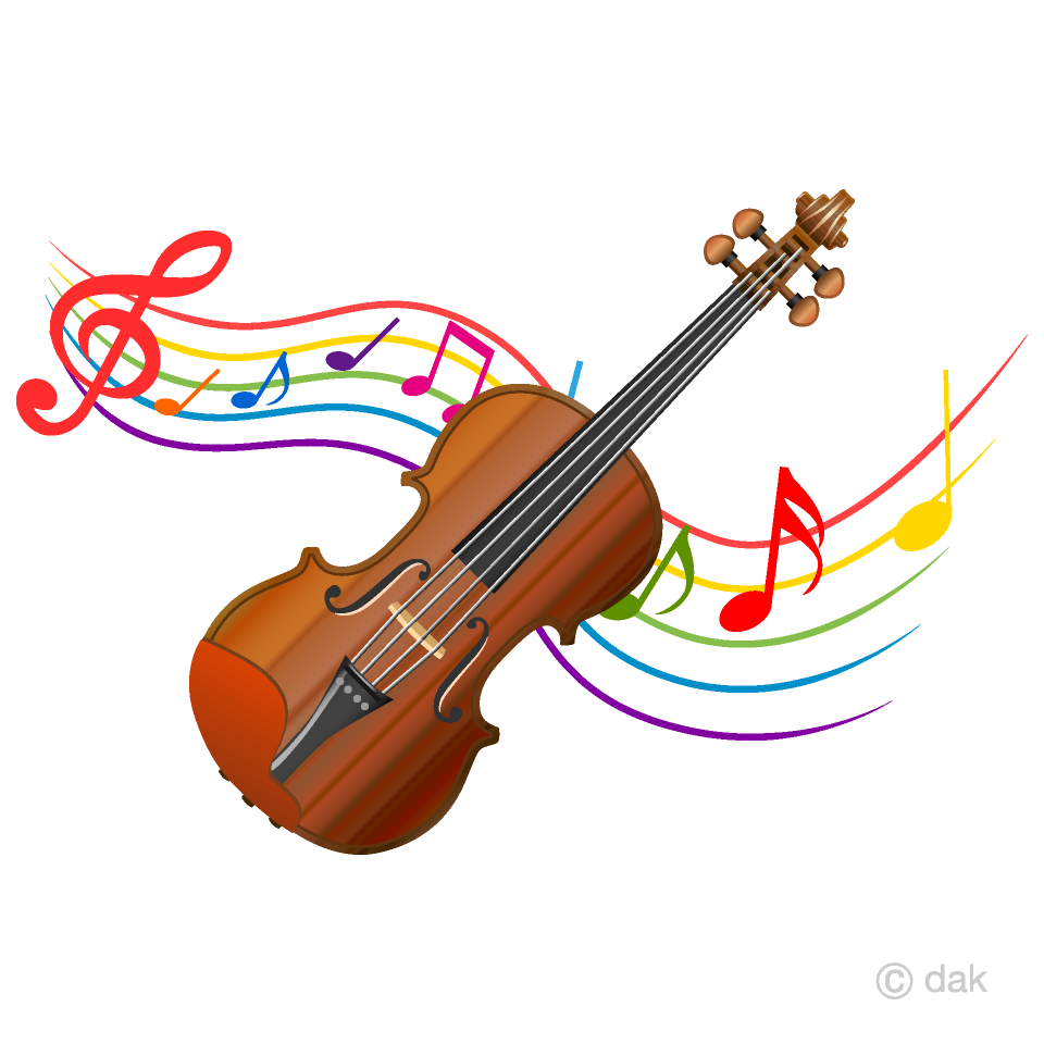 Violin and Music Note Waving Clipart Free Picture|Illustoon.