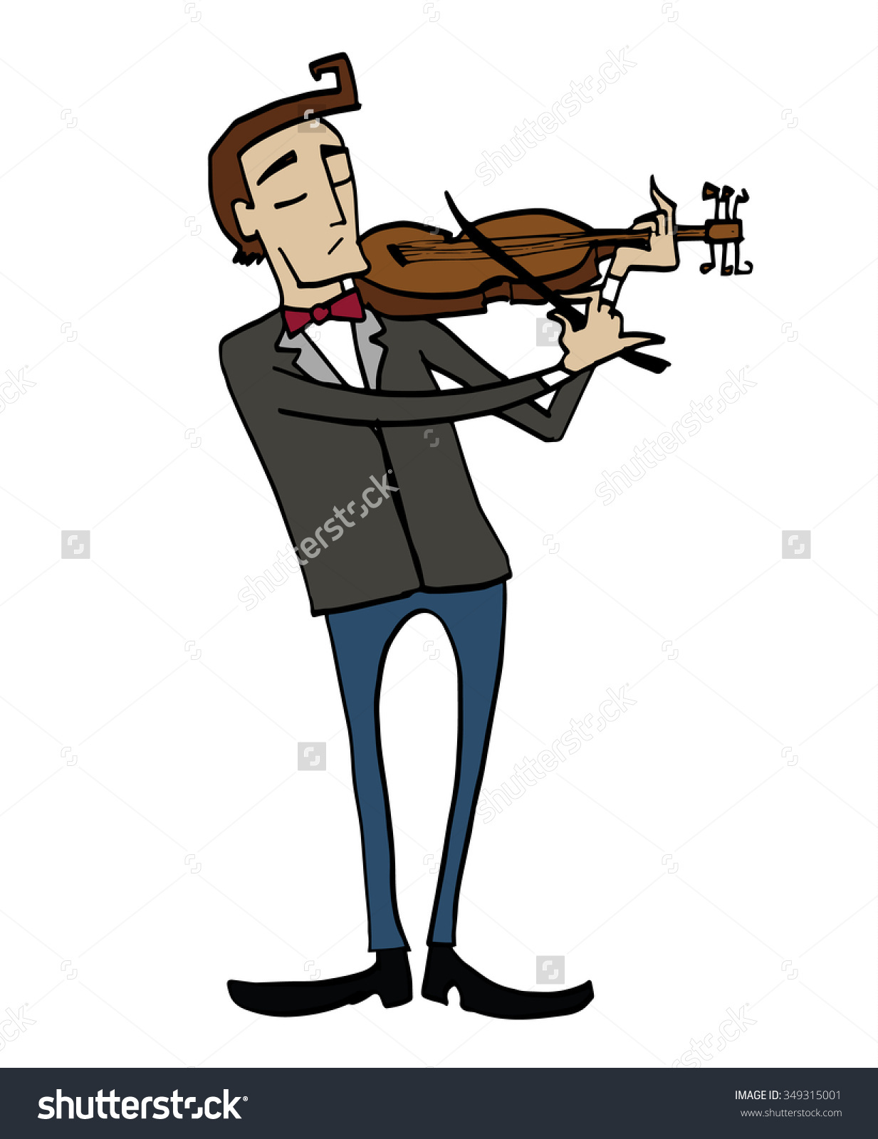 Cartoon Violinist Musician Playing Violin Clipart Stock Vector.