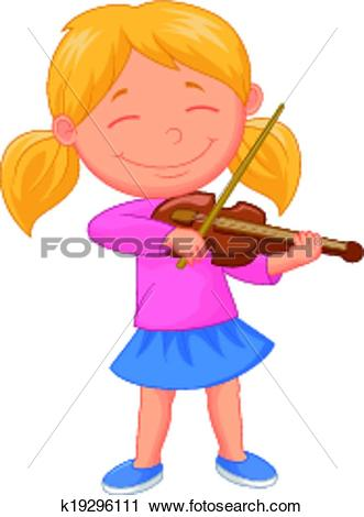 Clipart of Little girl cartoon playing violin k19296111.