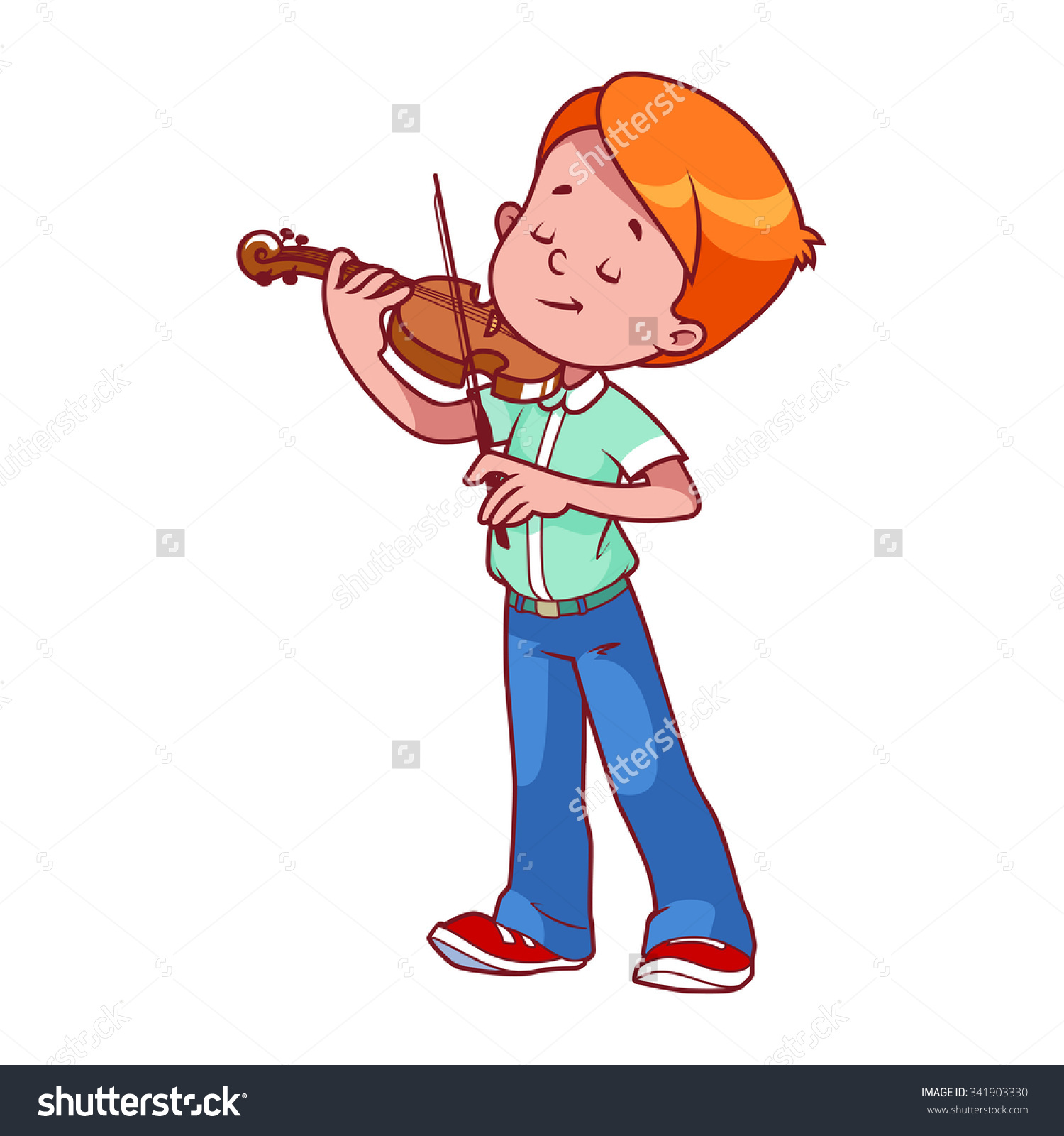 Cartoon Boy Playing Violin Vector Clip Stock Vector 341903330.