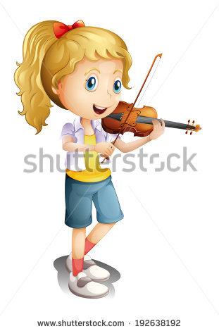 Cartoon Boy Playing Violin Vector Clip Stock Vector 341903330.
