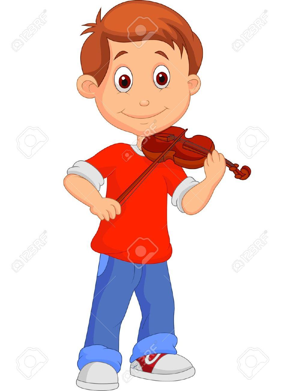 Boy Cartoon Playing His Violin Royalty Free Cliparts, Vectors, And.
