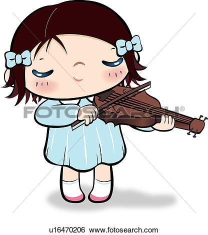 Stock Illustration of Girl playing violin u16470206.