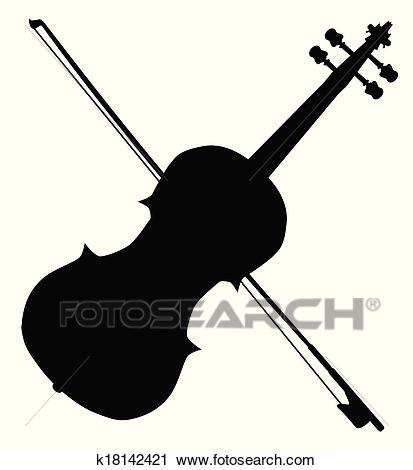 Fiddle Silhouette Clipart.
