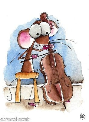 ACEO Original watercolor Folk Art Whimsical painting Mouse.