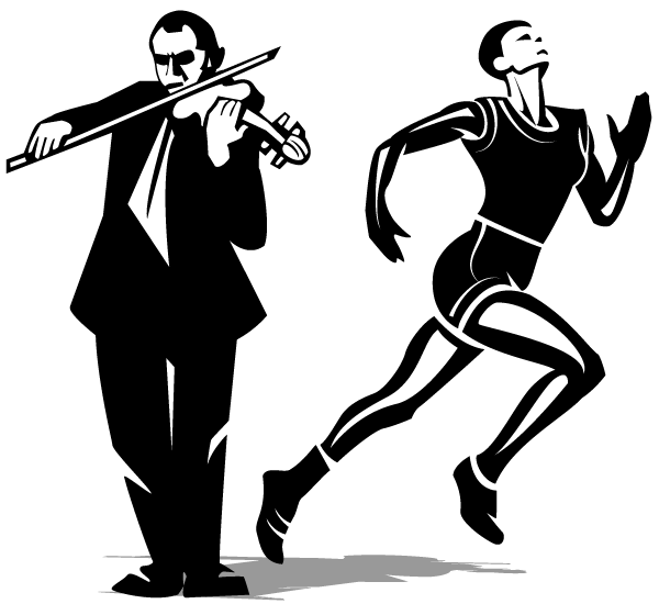 Athlete and Violinist Vector Clip Art.