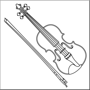 Black And White Clipart Violin.