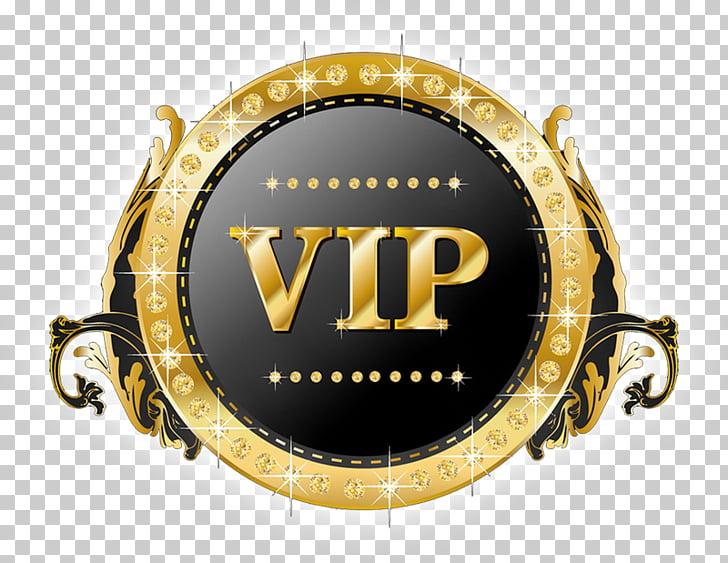 Logo Computer Servers, VIP, gold and black VIP badge PNG.