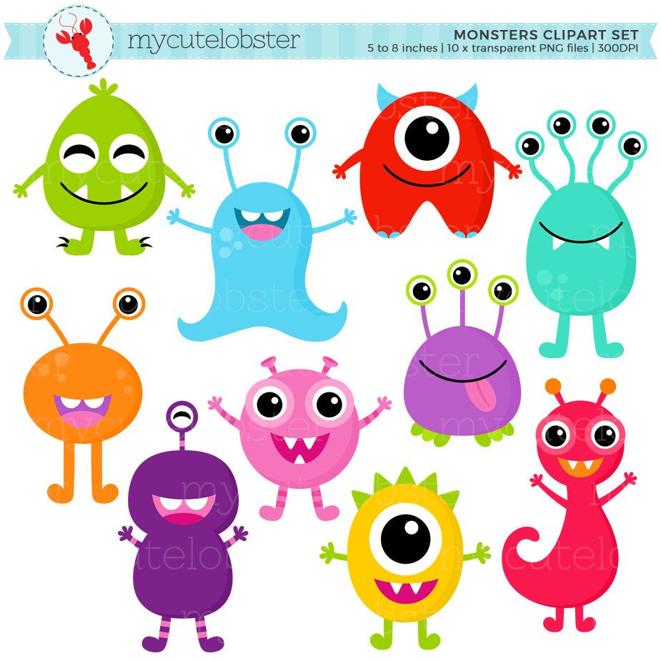 Monsters Clipart Set.