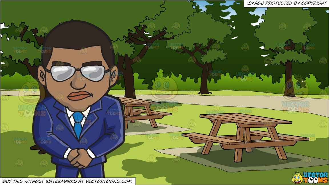 A Black Vip Bouncer and Picnic Tables In A Park Background.
