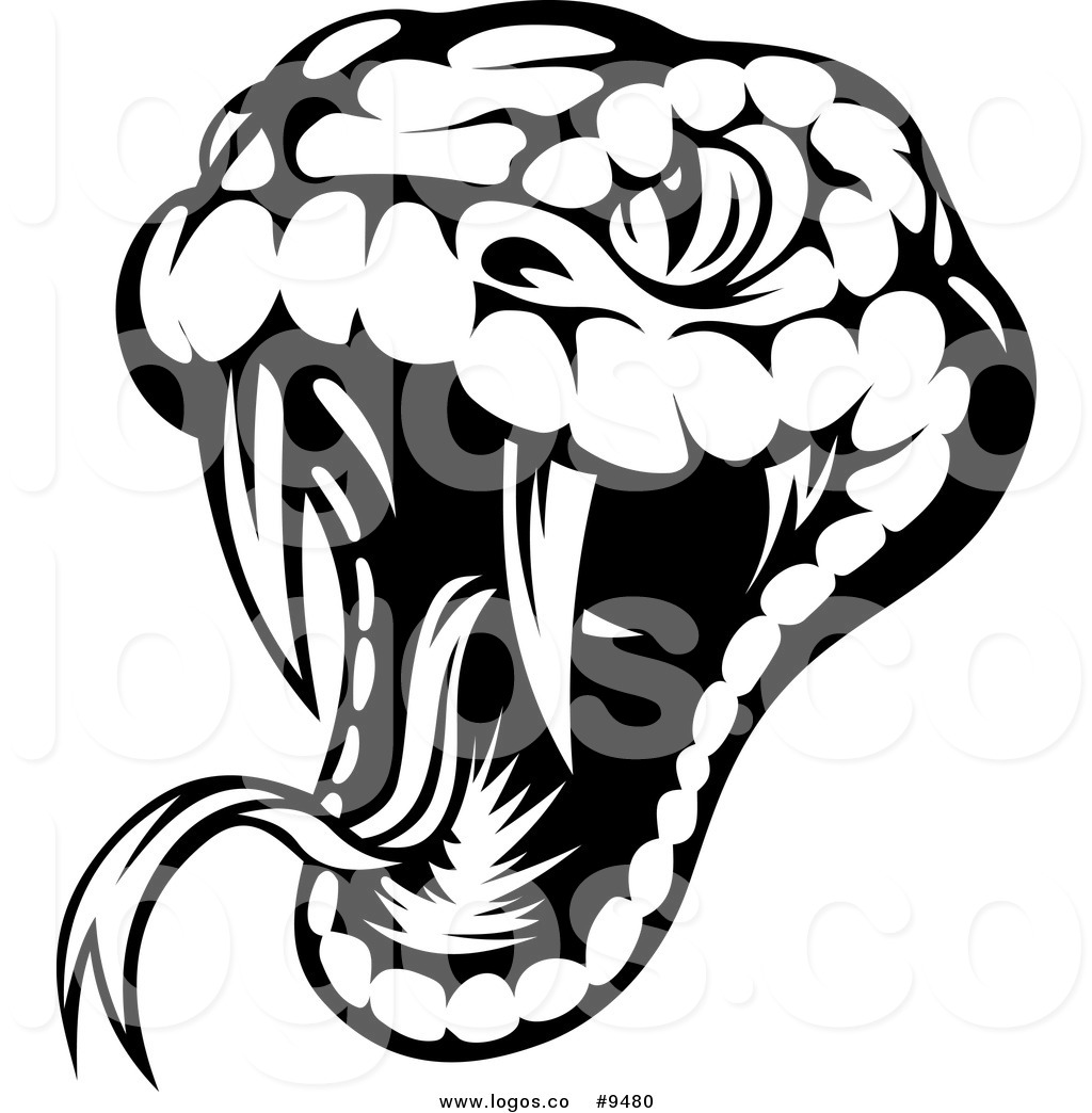 Royalty Free Clip Art Vector Logo of a Biting Black and White Viper.