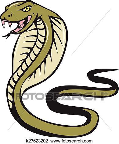 Cobra Viper Snake Attacking Cartoon Clipart.