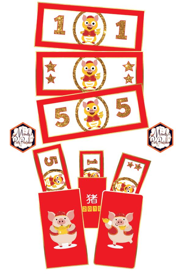Free Printable Chinese New Year Dino Money.