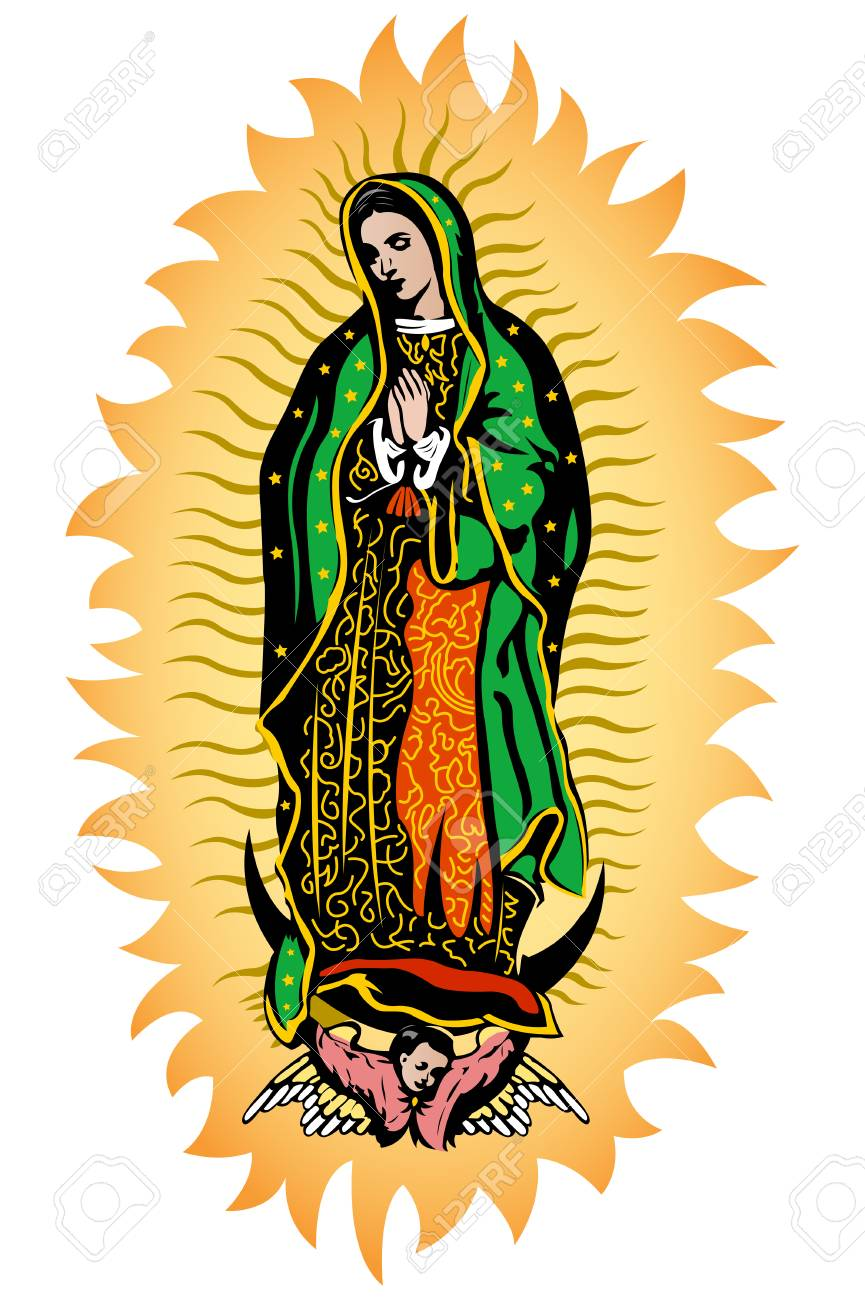 Virgin of Guadalupe, Mexican Virgen de Guadalupe color vector...