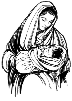 Mary And Baby Jesus Clipart.