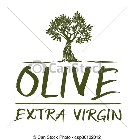 Vector Clip Art of Vector Green Olive Tree. Extra Virgin.