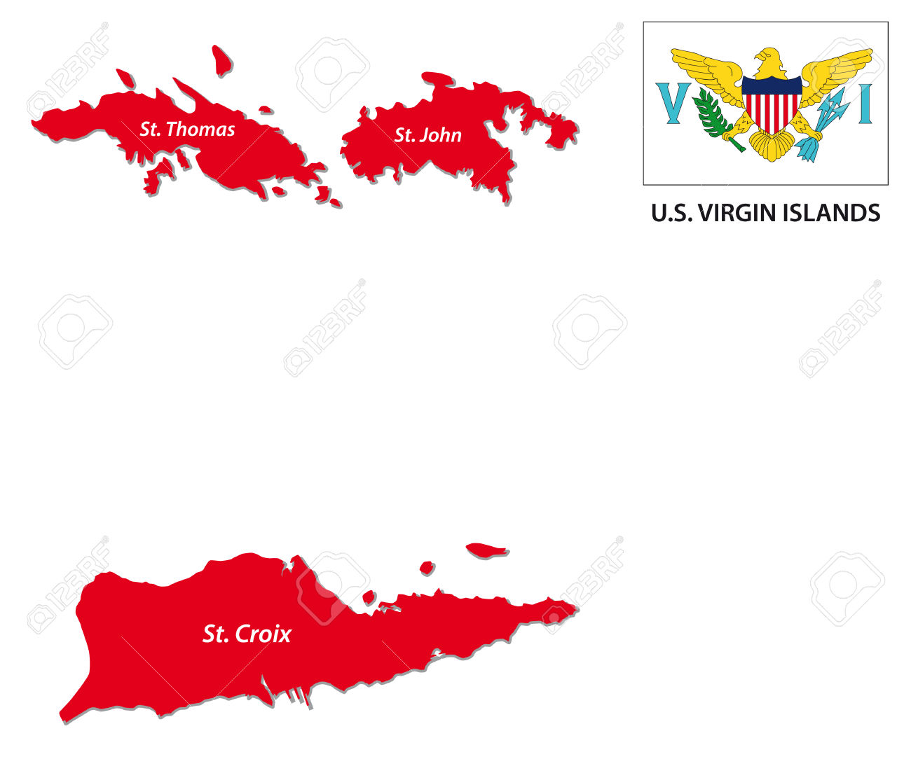 US Virgin Islands Map With Flag Royalty Free Cliparts, Vectors.