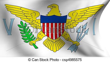 Stock Illustrations of Flag of Virgin Islands against white.