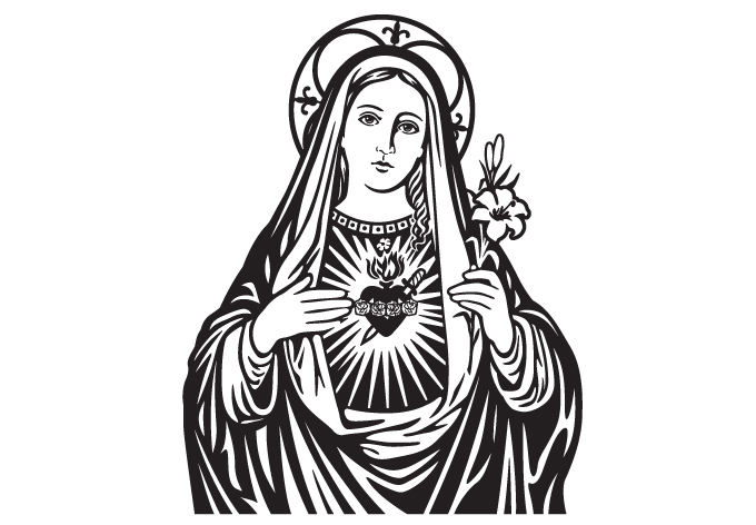 Line Drawing Virgin Mary : Virgin mary clipart clipground