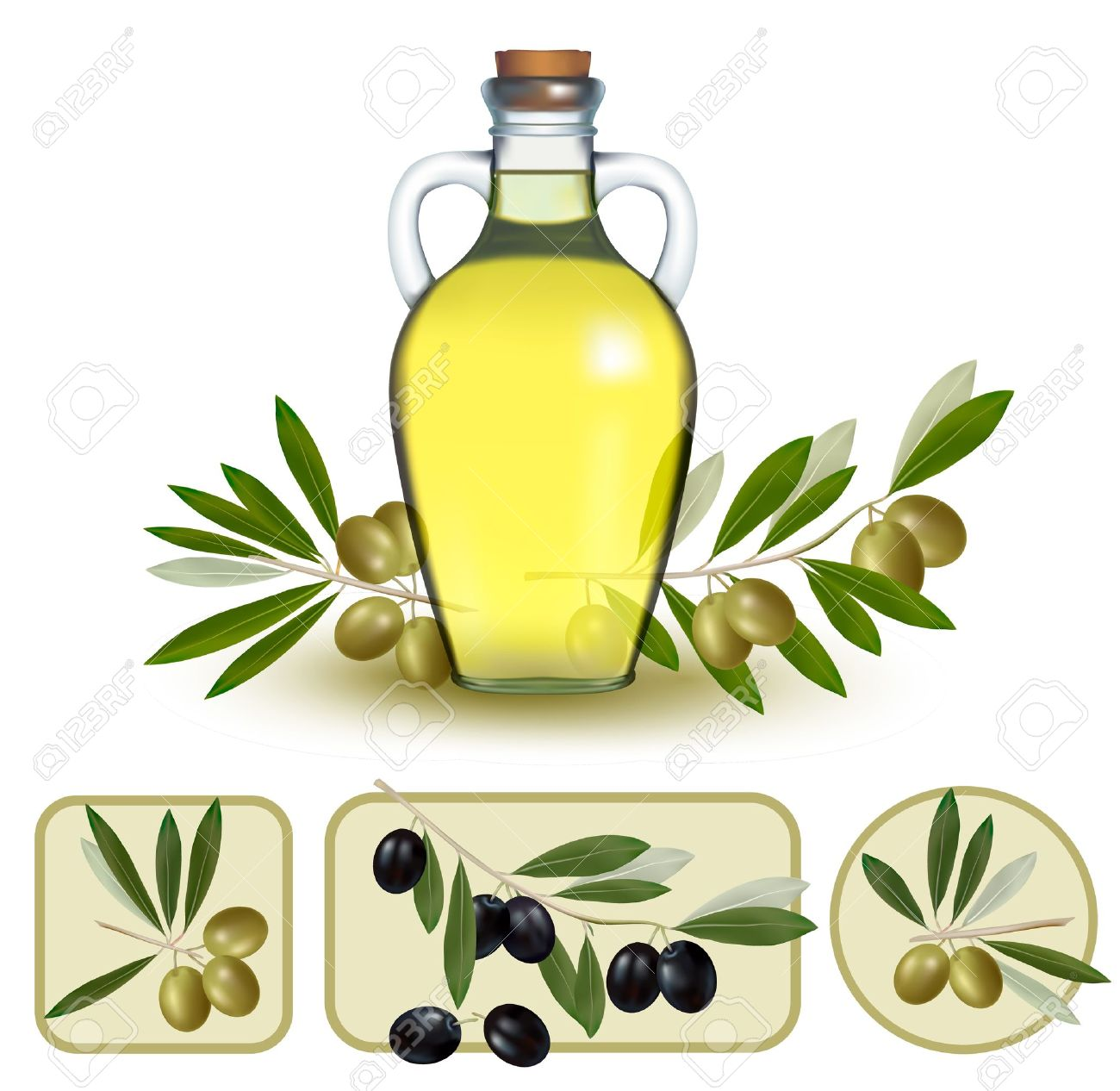 Bottle Of Oil With Green Olives And Olive Oil Labels. Royalty Free.