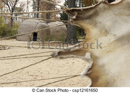 Stock Images of Indian village in historic Jamestown in Virginia.