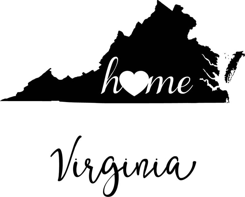 Virginia State Map digital file: SVG PNG Jpg eps Vector Graphic Clip Art VA  Outline Virginia home state.
