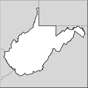 Clip Art: US State Maps: West Virginia Grayscale I abcteach.