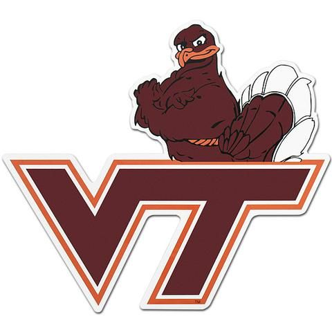 Virginia Tech Logo with Hokie Bird Car Magnet.