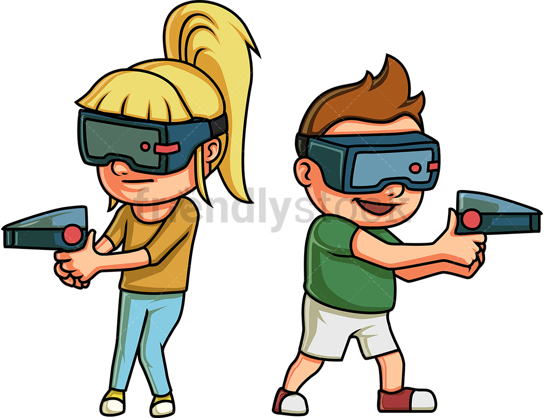 Kids Playing A Virtual Reality Game.
