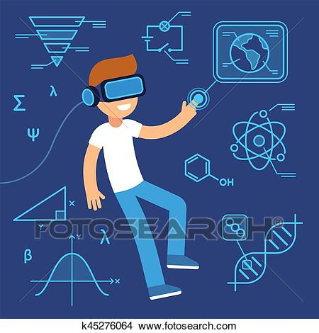 Virtual reality education Clipart.