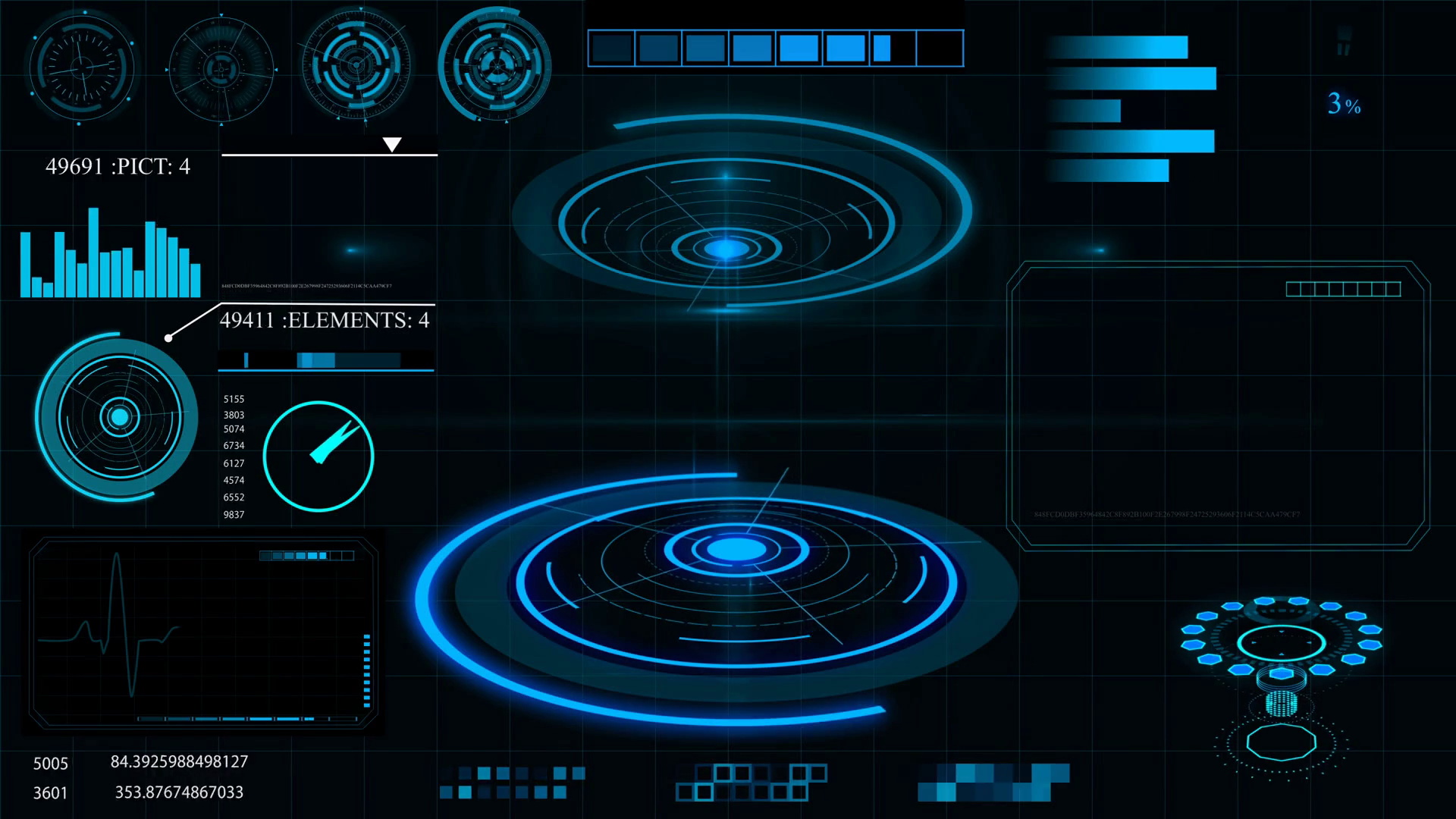 Future concept virtual touch user interface HUD with graphs, Infographic  elements, hologram . Interactive screen Stock Video Footage.