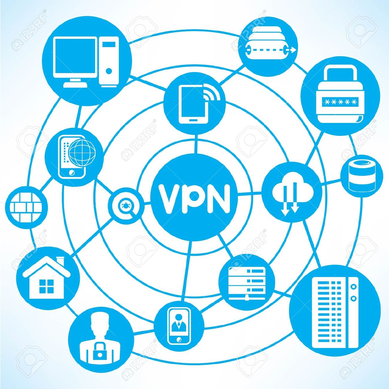 Virtual Private Network Clip Art.