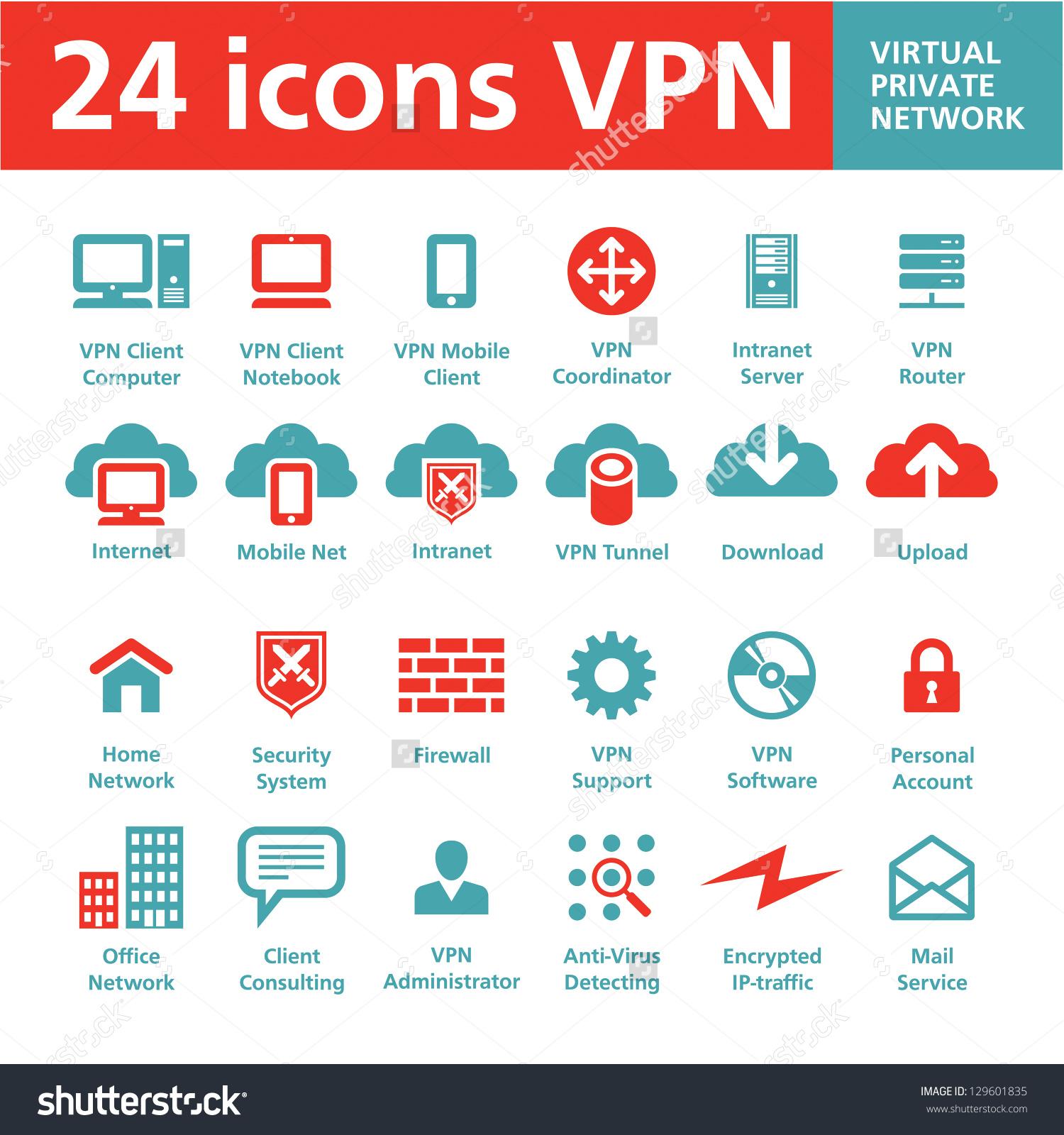 24 Vector Icons Vpn Virtual Private Stock Vector 129601835.