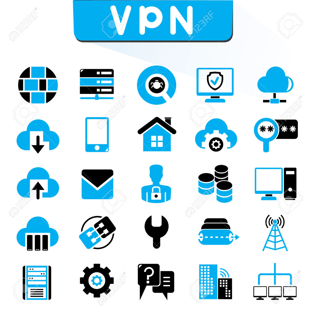 VPN, Virtual Private Network Icons, Blue Color Theme Royalty Free.
