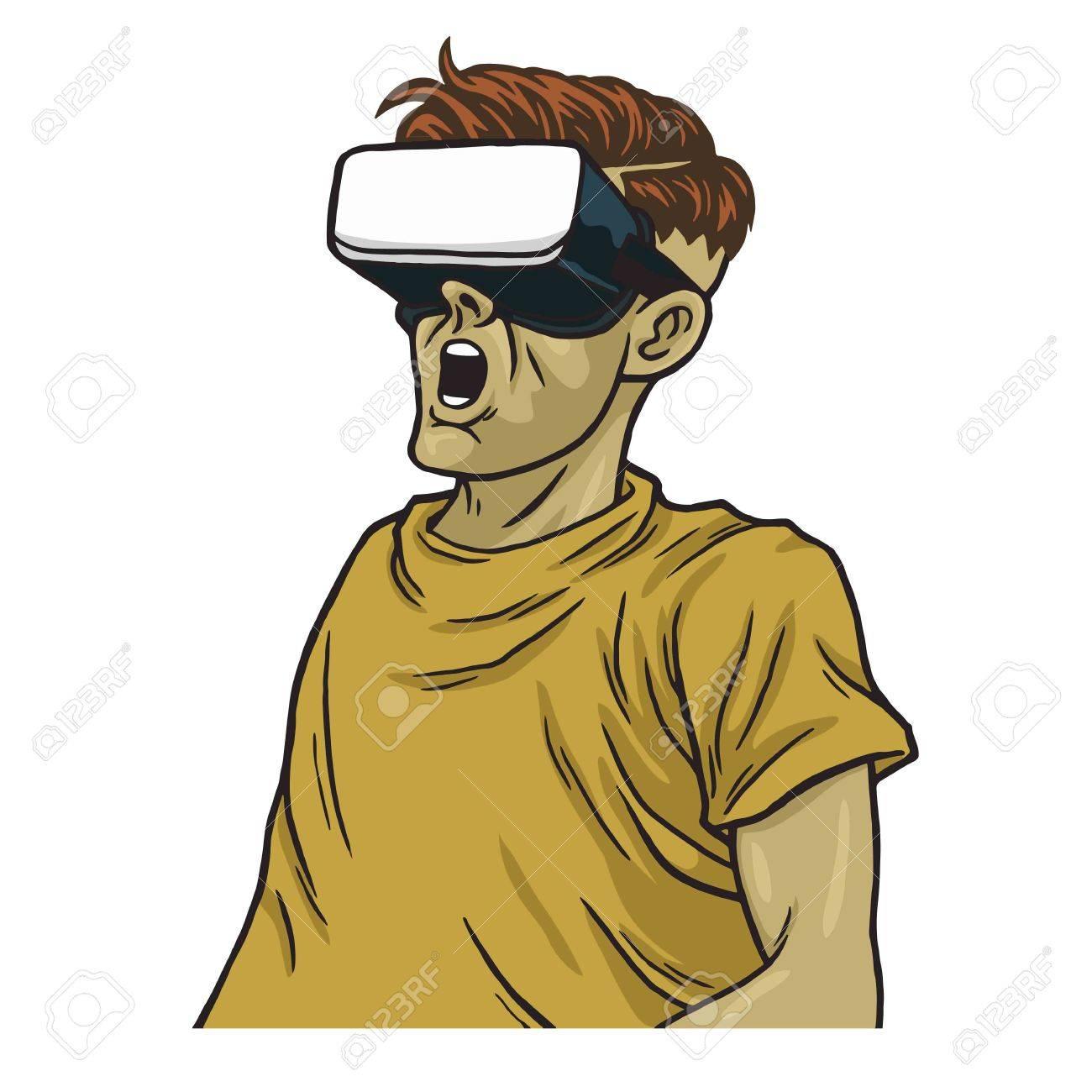 Man Wearing Virtual Reality Goggles Vector Illustration Clipart.