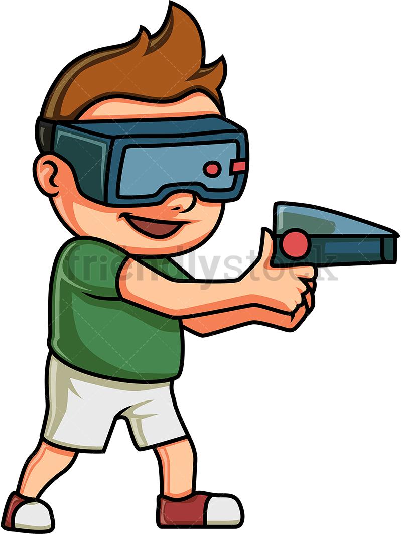 Kid Playing A Virtual Reality Game.