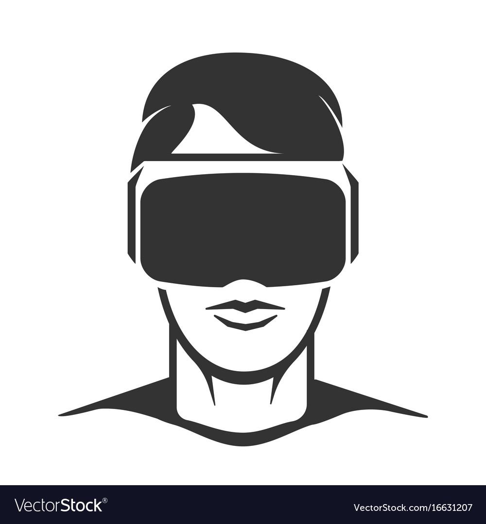 Virtual reality man silhouette.