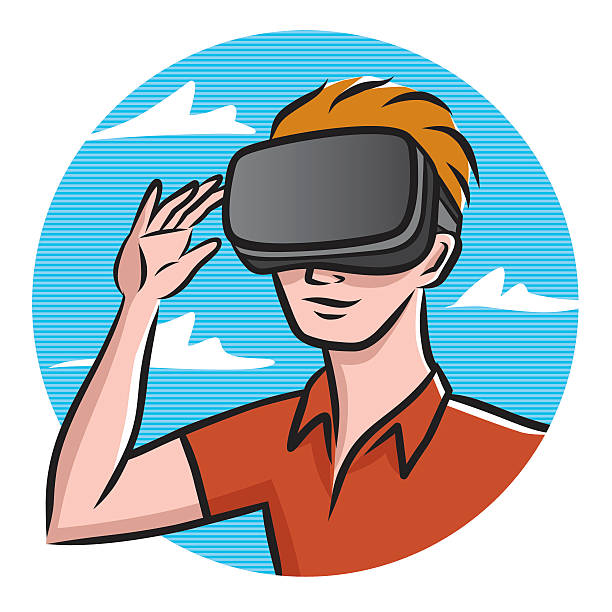 Best Young Man With Virtual Reality Glasses Illustrations, Royalty.