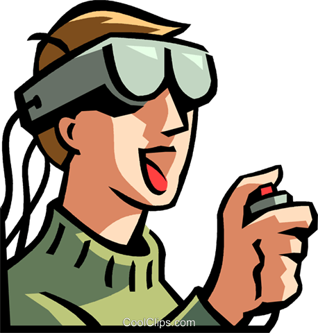 boy wearing a virtual reality headset Royalty Free Vector Clip Art.
