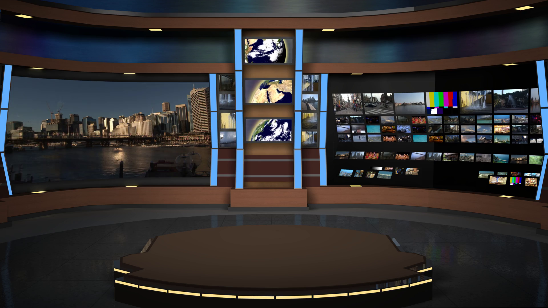 Animated Virtual Set Studio AnimSet 004 Wide Shot Broadcast News Desk with  Screens Motion Background.