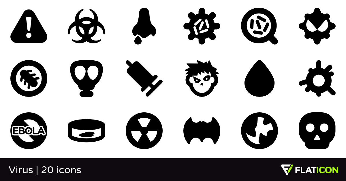 Virus 20 free icons (SVG, EPS, PSD, PNG files).